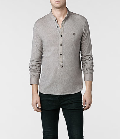 Saints Long Sleeved Henley, Men, T-shirts, AllSaints Spitalfields