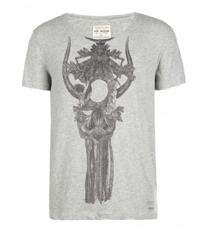 Dreamcatcher Cut Collar Scoop T-shirt, Men, , AllSaints Spitalfields