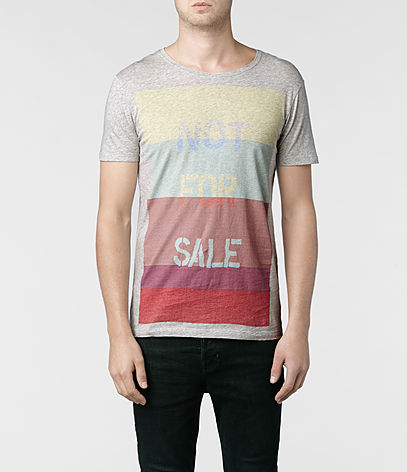 Blocking Cut Collar T-shirt, Men, Graphic T-Shirts, AllSaints Spitalfields