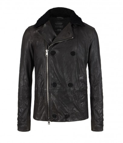 Diverse Leather Pea Coat