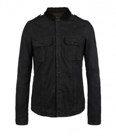 Cipher Leather Shirt, Men, Leathers, AllSaints Spitalfields