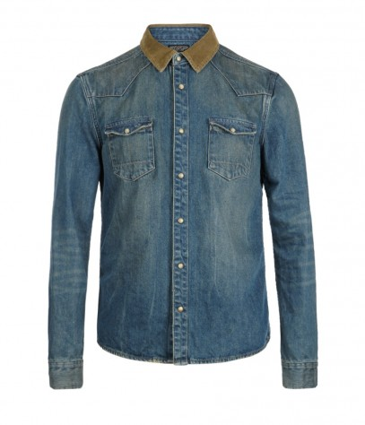 Bedford Denim Shirt, Men, Shirts, AllSaints Spitalfields