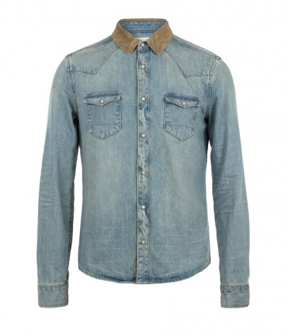 Reed Denim Shirt, Men, Shirts, AllSaints Spitalfields