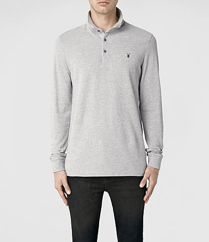 Sandringham Long Sleeved Polo, Men, Ramskull, AllSaints Spitalfields