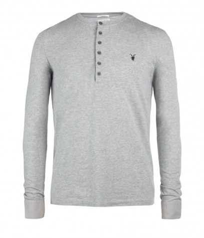 Bramford Long Sleeved Henley, Men, T-shirts, AllSaints Spitalfields