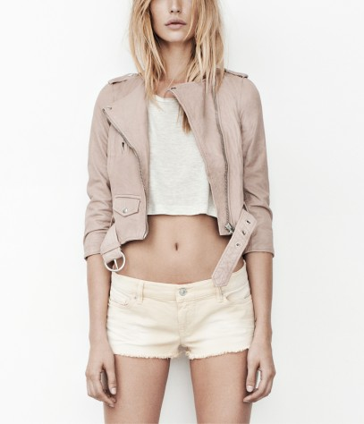Cropped Felton Leather Biker Jacket