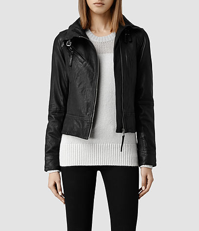 Belvedere Leather Jacket, Women, Leather, AllSaints Spitalfields