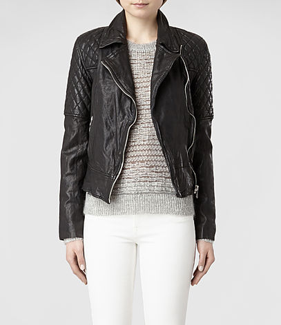 Walker Leather Biker Jacket, Women, Leather, AllSaints Spitalfields