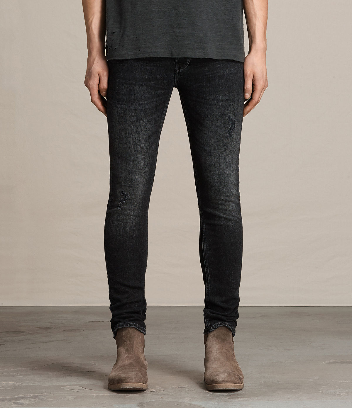 ALLSAINTS UK: Mens Print Cigarette Jeans (Black)