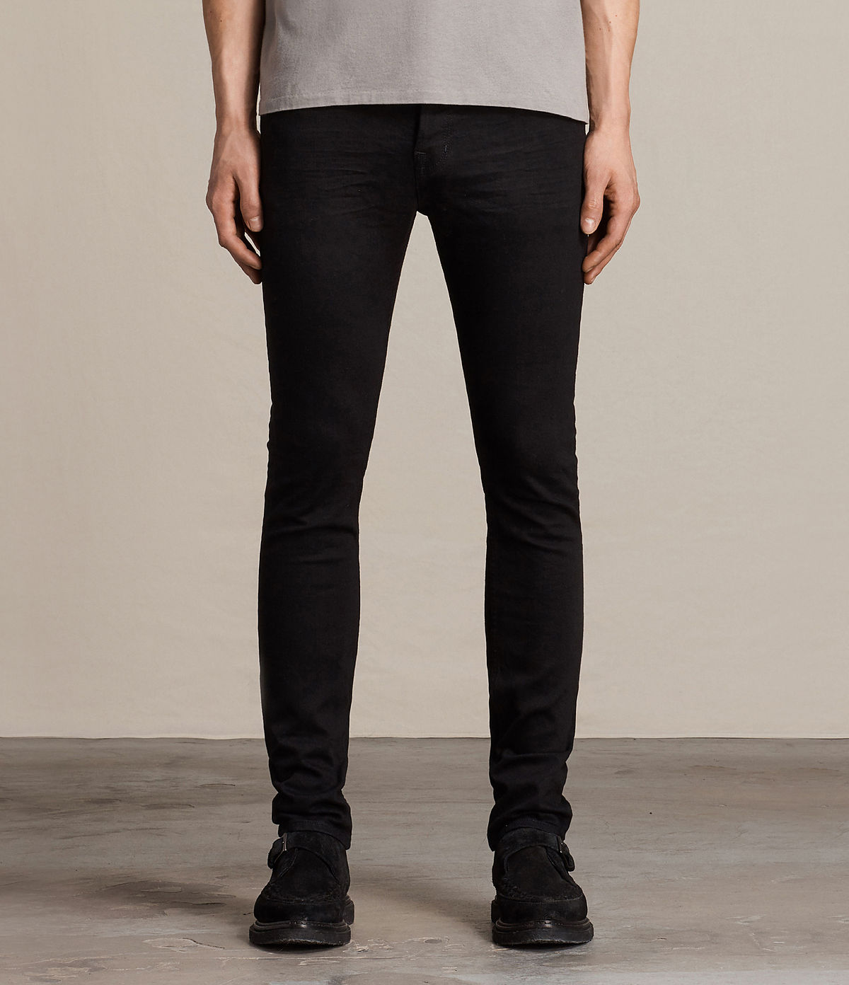 ALLSAINTS UK: Mens Crow Cigarette Jeans (Jet Black)