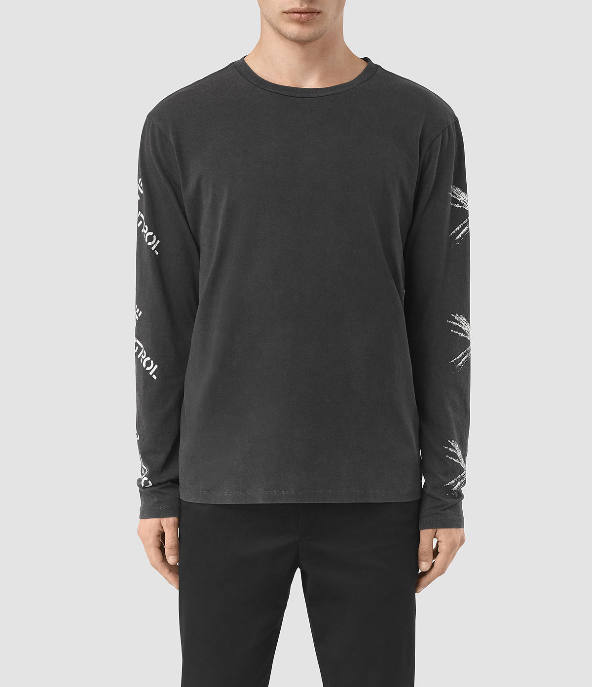 ALLSAINTS UK: Mens Remote Long Sleeve Crew T-Shirt (Vintage Black)