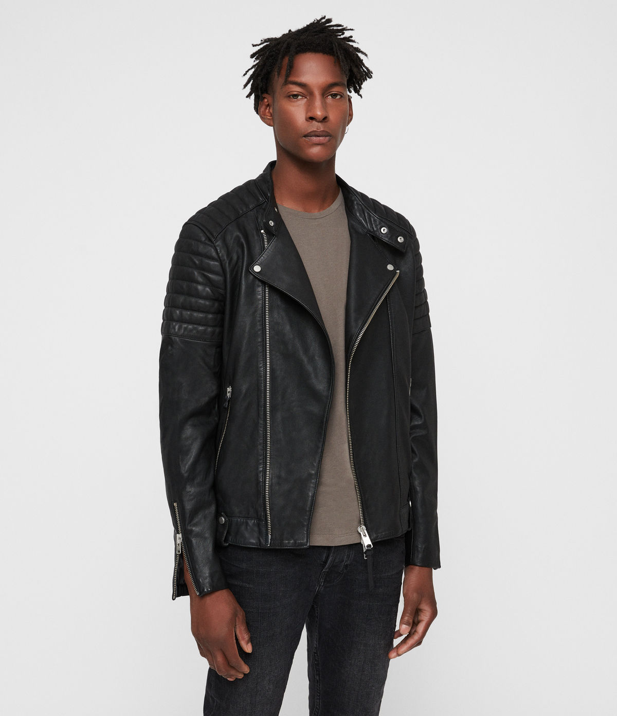 ALLSAINTS UK: Mens Jasper Leather Biker Jacket (Black)