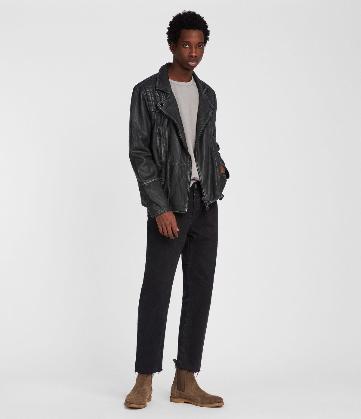 Leather jacket care - Allsaints Uk Mens Cargo Leather Biker Jacket Black Grey