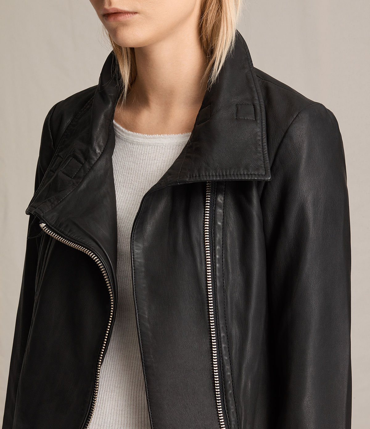 ALLSAINTS US: Womens Bales Leather Biker Jacket (Black)