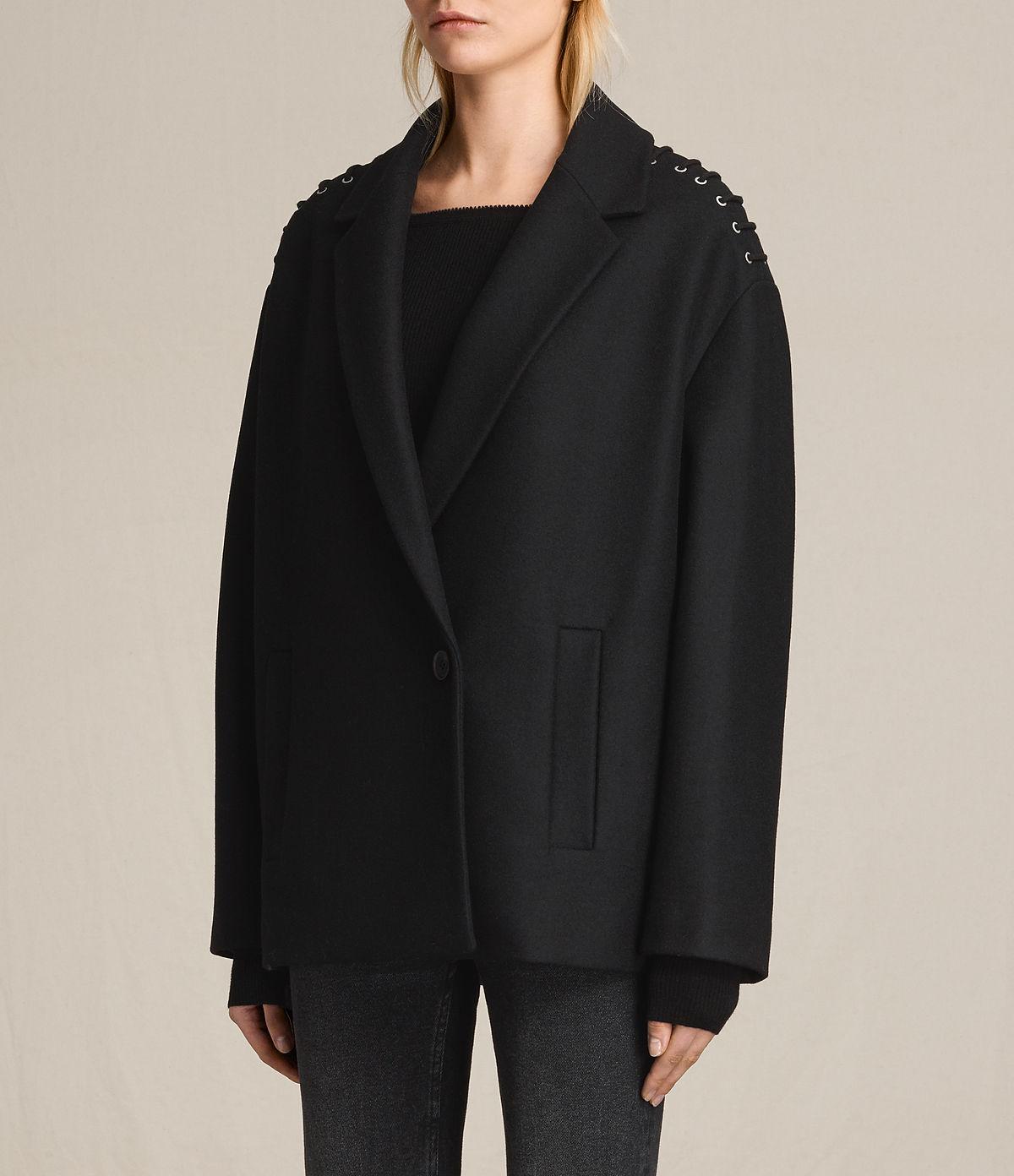 ALLSAINTS US: Womens Ada Laced Short Coat (Black)