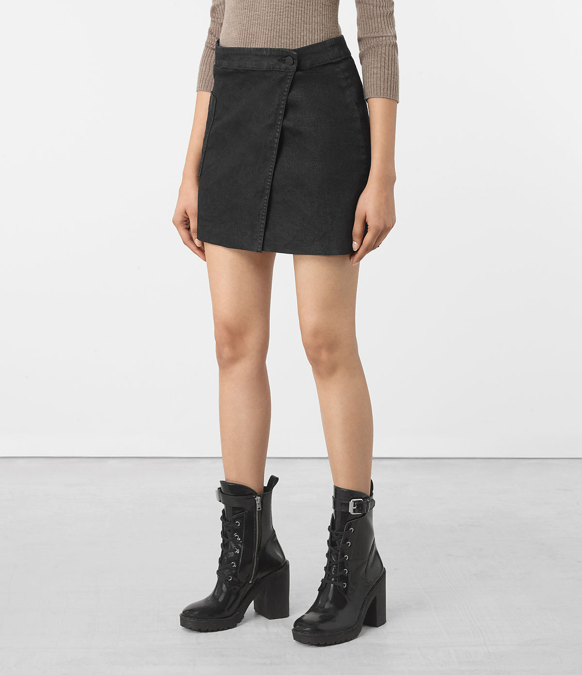 ALLSAINTS US: Womens Ruth Denim Skirt (Black)
