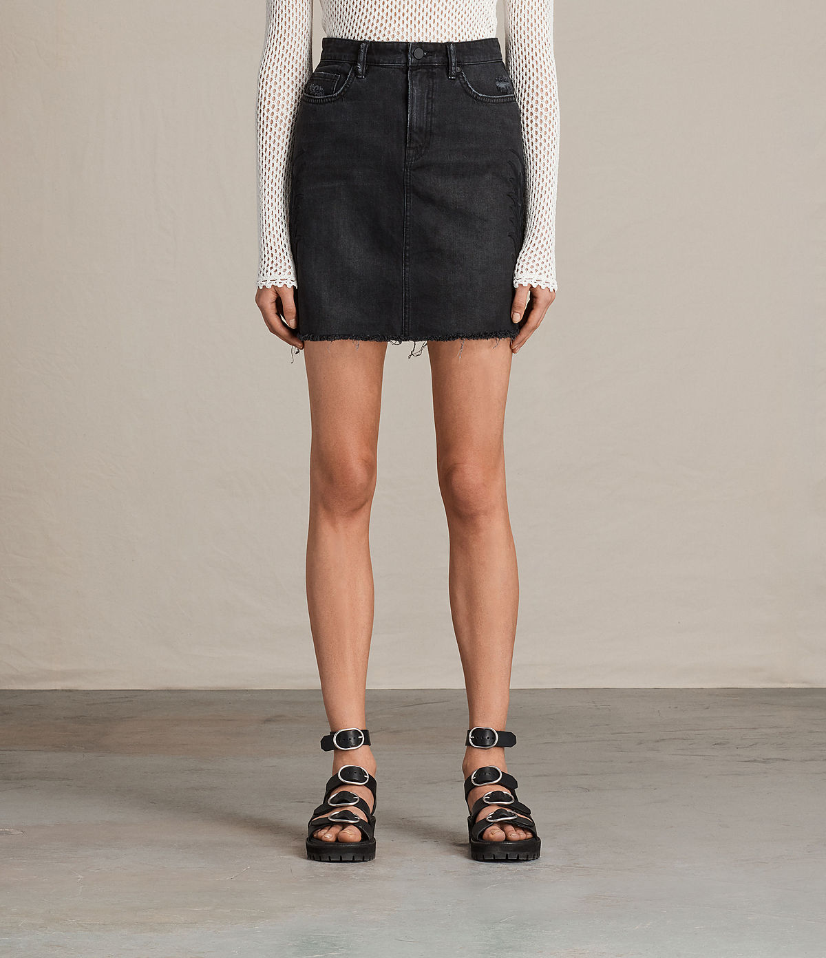 ALLSAINTS UK: Womens Philly Embroidered Denim Skirt (Washed Black)