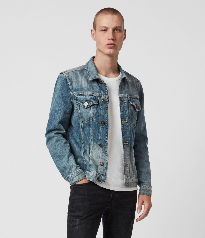 AllSaints Men's Cotton Regular Fit Inverness Denim Jacket, Blue, Size: S