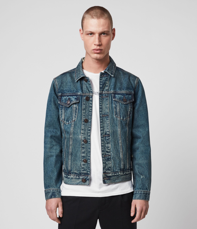 AllSaints Men's Cotton Regular Fit Danby Denim Jacket, Blue, Size: L