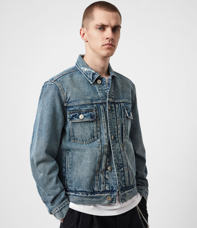 AllSaints Men's Cotton Relaxed Fit Delta Denim Jacket, Blue, Size: XXL