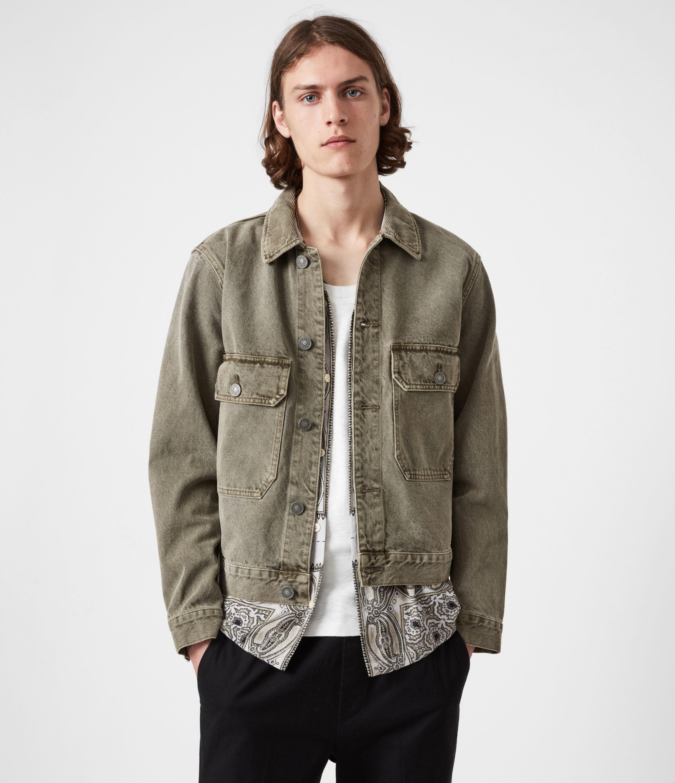 AllSaints Men's Terrell Cotton Jacket, Beech Green, Size: M