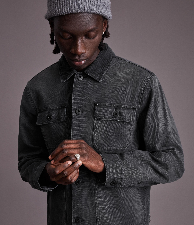 AllSaints Men's Callum Denim Jacket, Washed Black, Size: M
