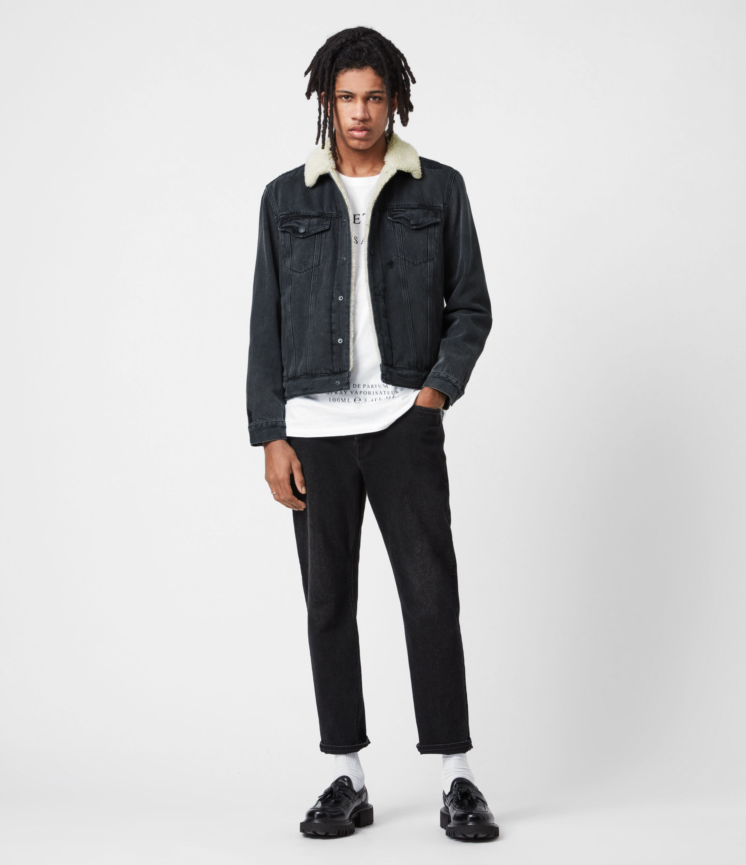 AllSaints Mens Morton Sherpa-Lined Denim Jacket, Washed Black, Size: M