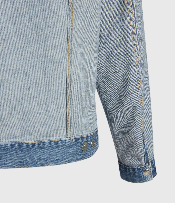 AllSaints Mens Sagar Reversible Denim Jacket, Light Indigo, Size: XL
