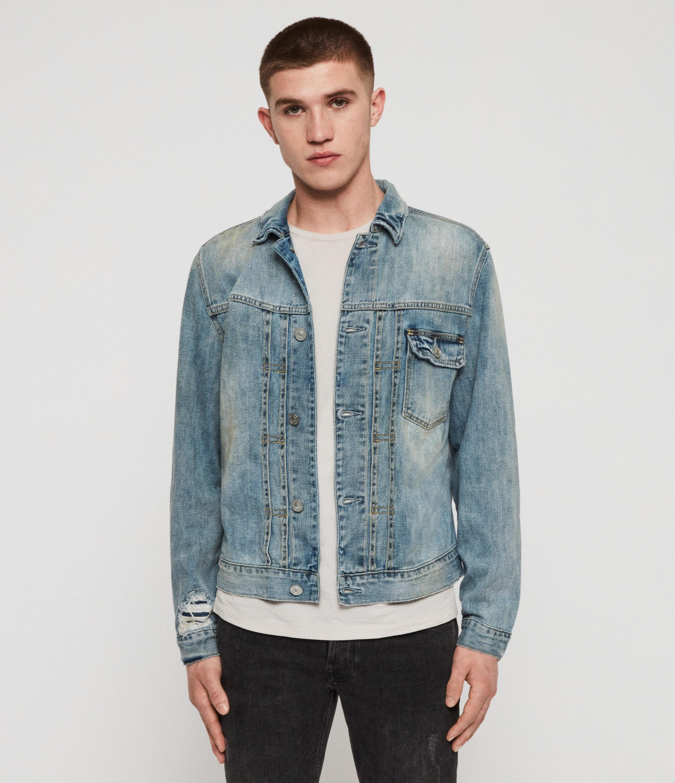 AllSaints Men's Cotton Regular Fit Imoku Denim Jacket, Blue, Size: XL