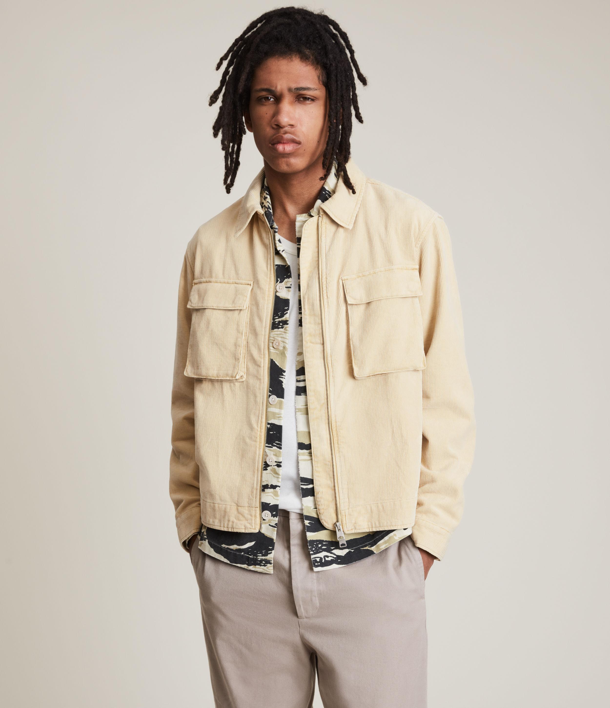 AllSaints Men's Clifton Organic Cotton Jacket, Ravine Yellow, Size: S