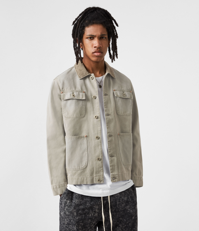 AllSaints Mens Callum Denim Jacket, Pewter Grey, Size: M