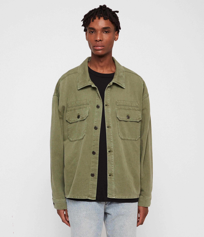 AllSaints Men's Cotton Summer Korten Denim Jacket, Green, Size: M