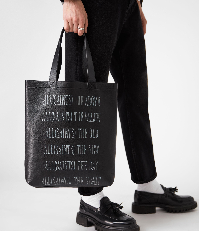 AllSaints Men's Leather Stamp Tote Bag, Black