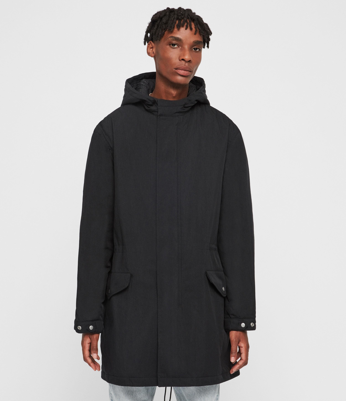 AllSaints Men's Cotton Regular Fit Alma Parka, Black, Size: S