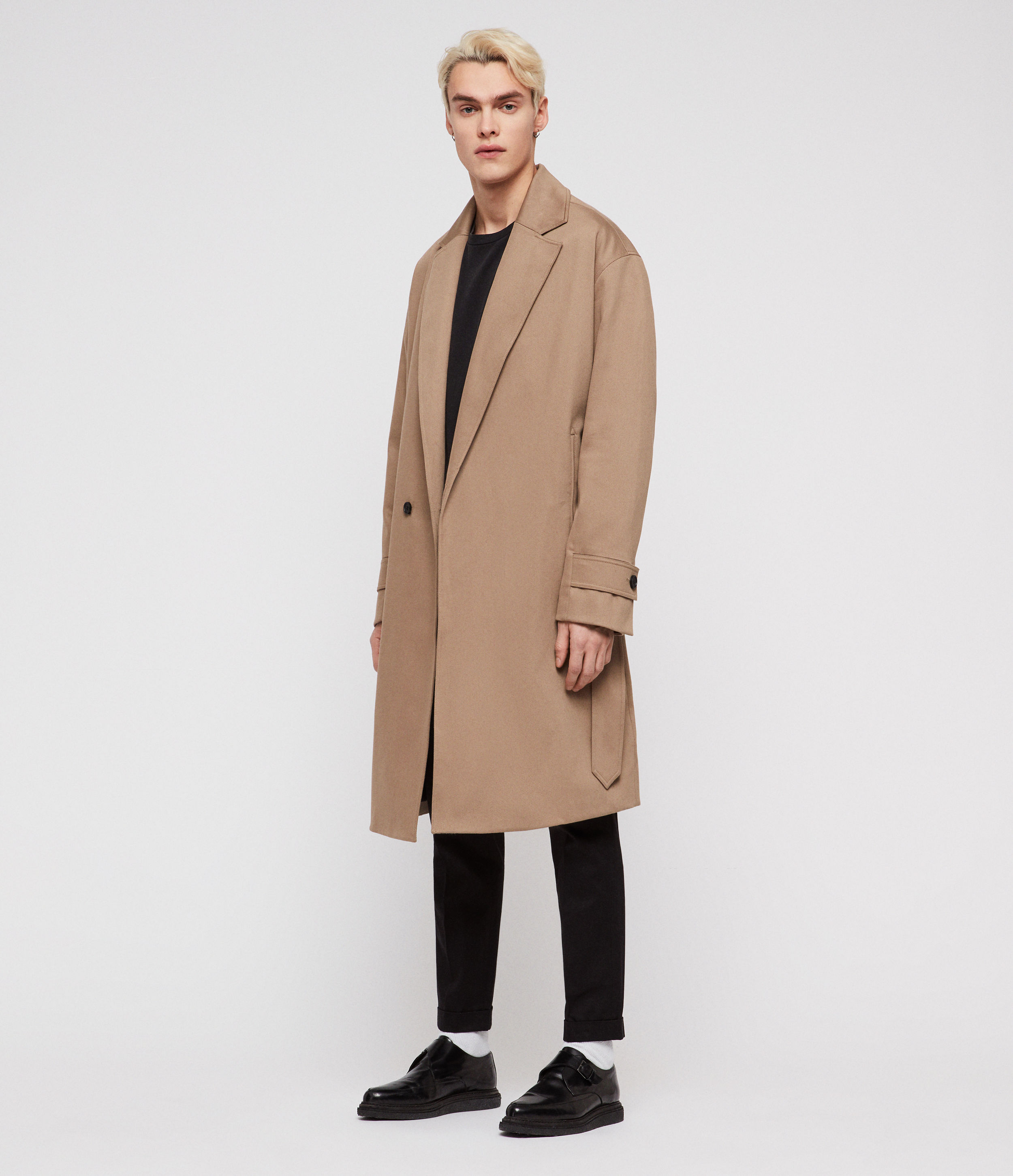 AllSaints Men's Cotton Fully Lined Reynolds Trench Coat, Brown, Size: M