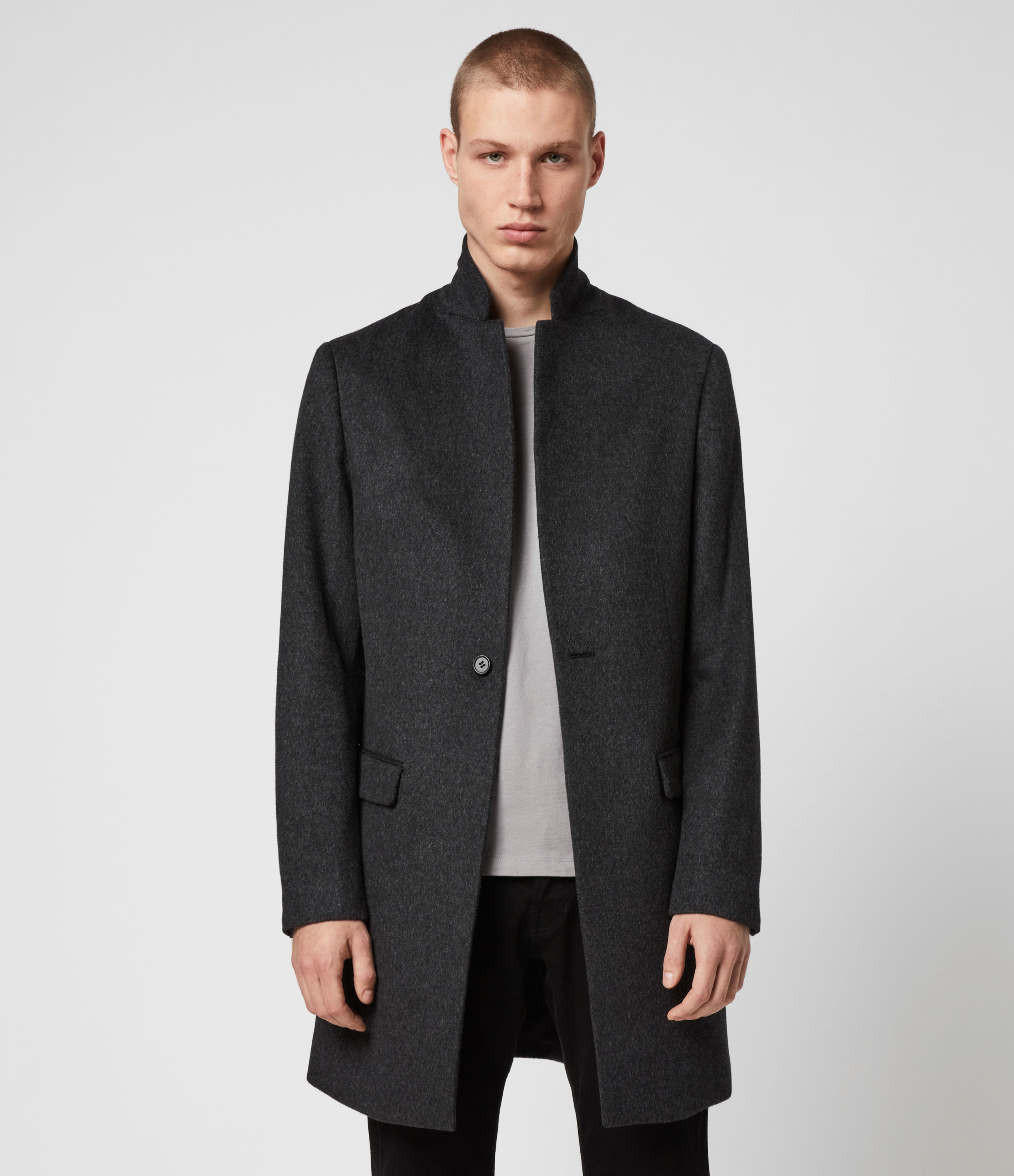 AllSaints Men's Cotton Fully Lined Slim Fit Bodell Wool Coat, Grey, Size: 40