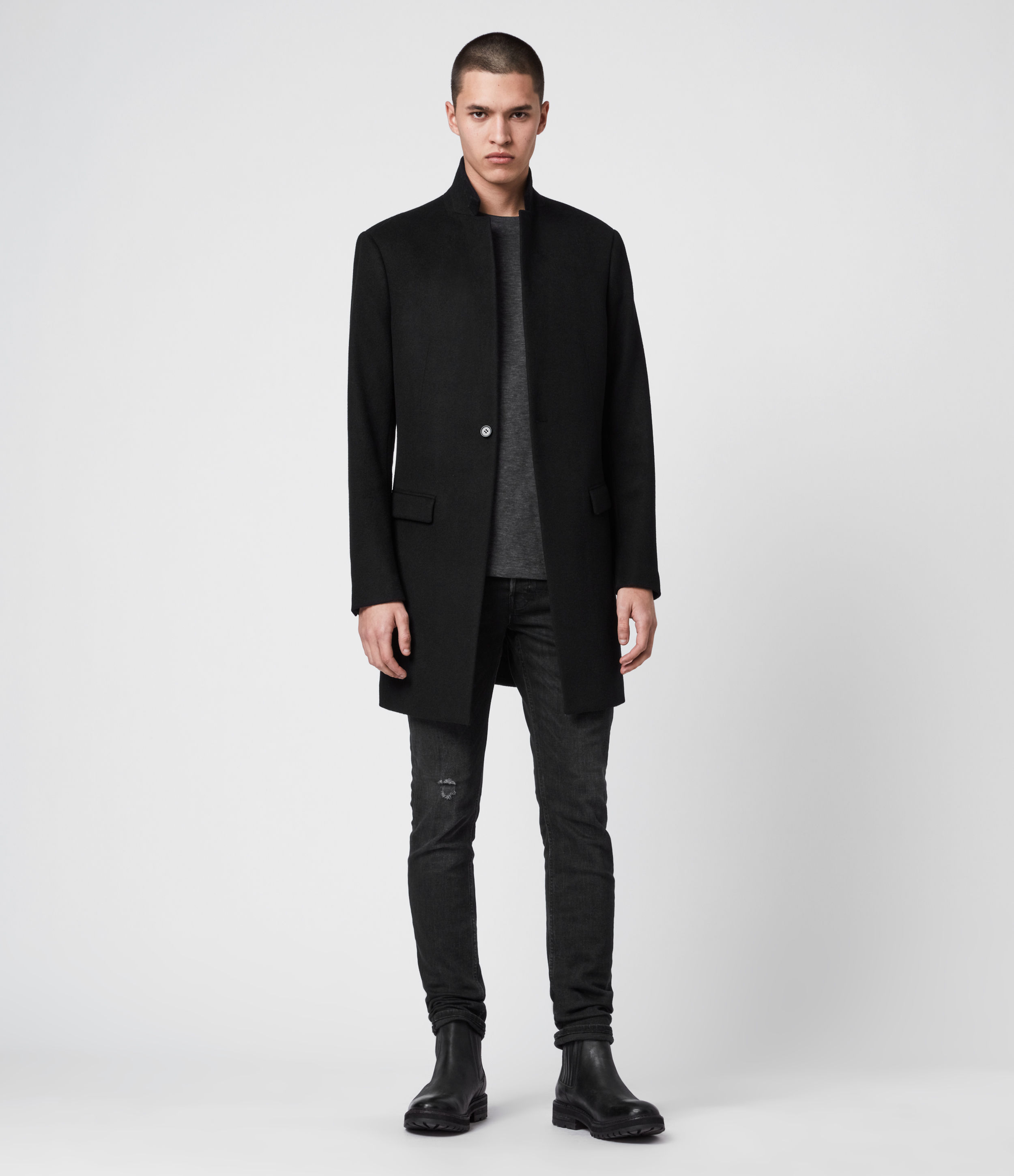 AllSaints Men's Wool Slim Fit Pure Classic Fully Lined Bodell Single Button Coat, Black, Size: 44