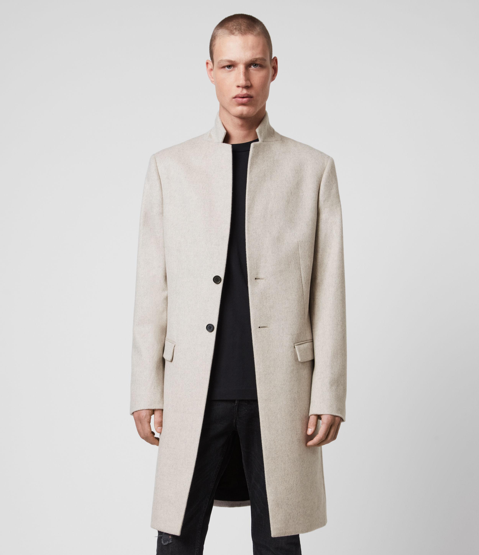 AllSaints Men's Birdstow Wool Coat, Beige, Size: 38