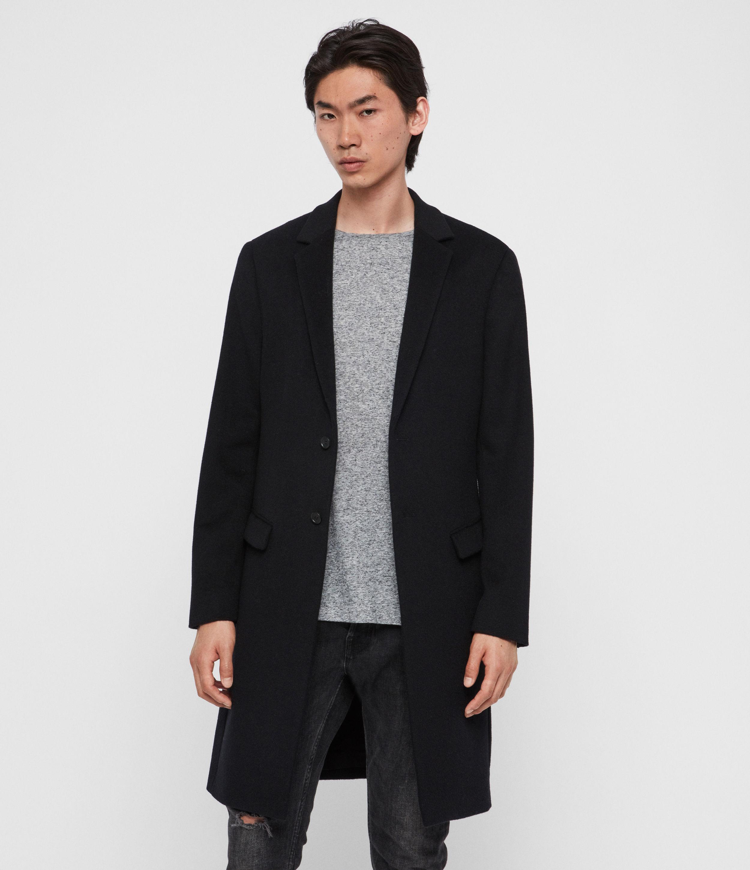 AllSaints Mens Birdstow Wool Coat, Dark Navy Blue, Size: 40