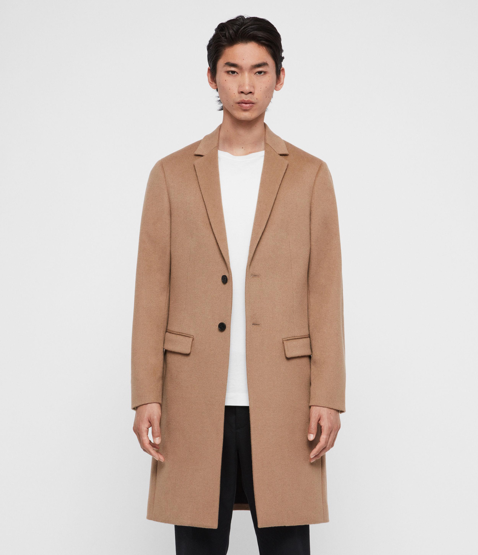 AllSaints Men's Pure Wool Slim Fit Tailored Birdstow Coat, Brown, Size: 36