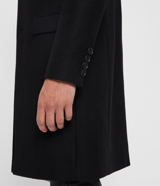 AllSaints Men's Wool Slim Fit Longline Chalcot Coat, Black, Size: 40