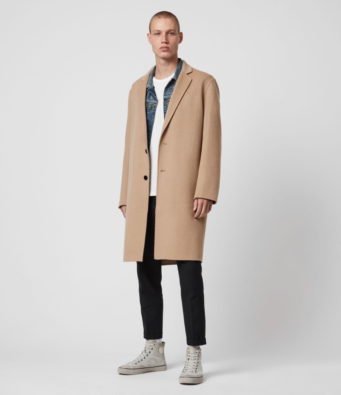 AllSaints Men's Wool Classic Hanson Knee Length Coat, Brown, Size: S