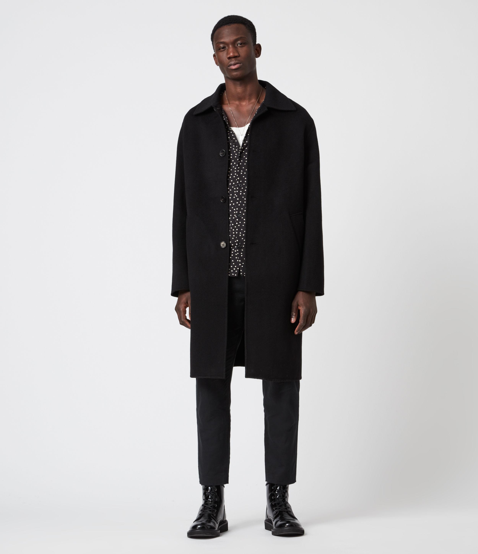 AllSaints Adler Wool Blend Coat, Black, Mens, Size: 40