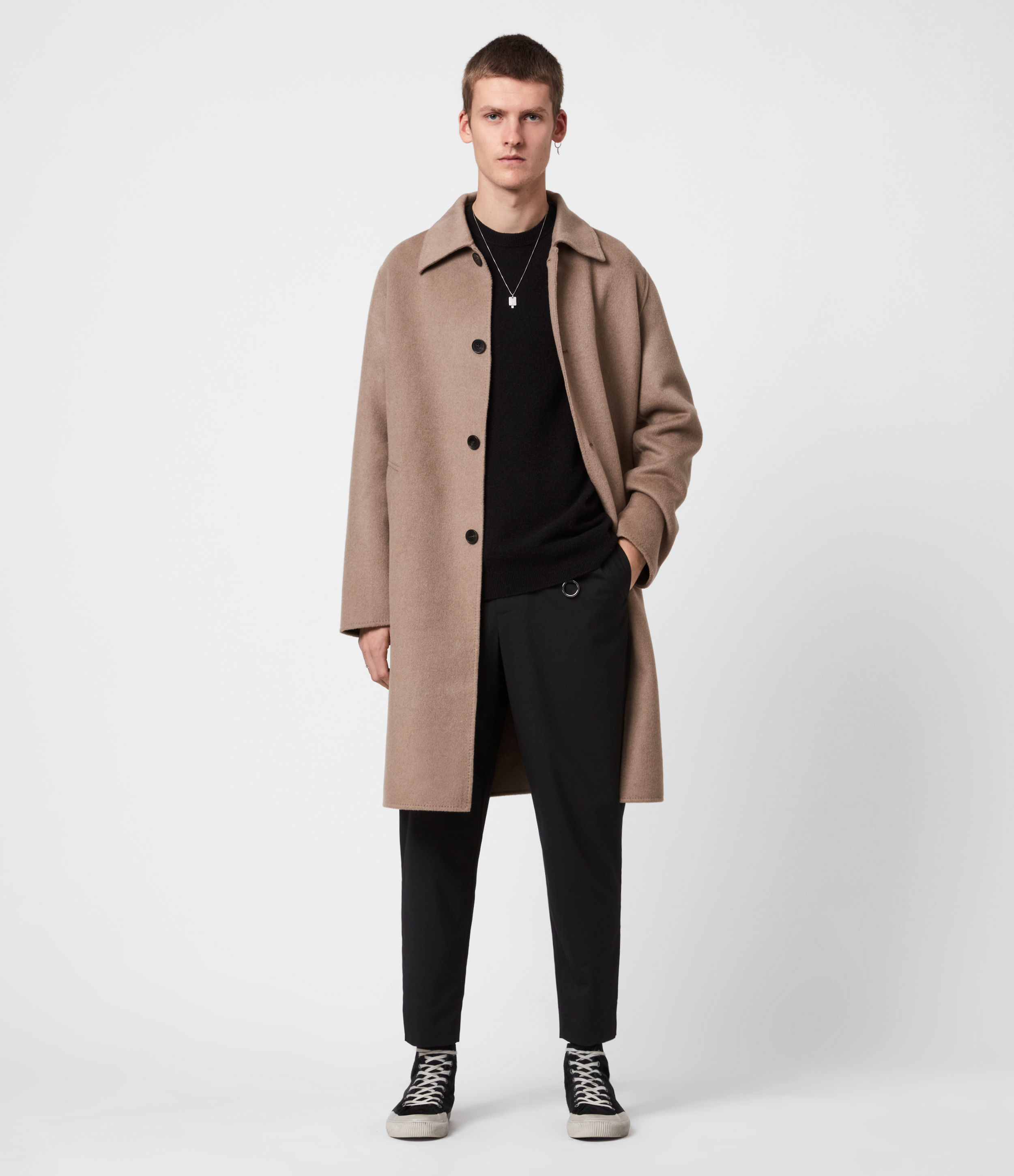 AllSaints Mens Adler Wool Blend Coat, Fawn Brown, Size: 42