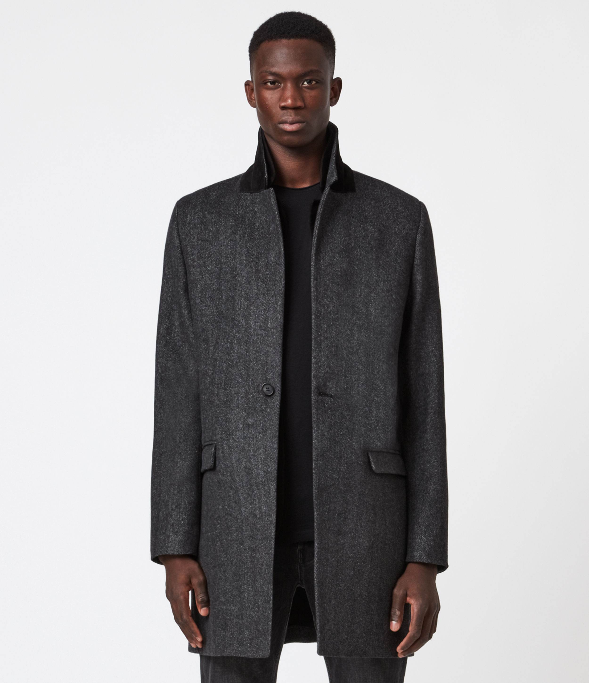 AllSaints Mens Morden Wool-Cashmere Blend Coat, Charcoal, Size: 38