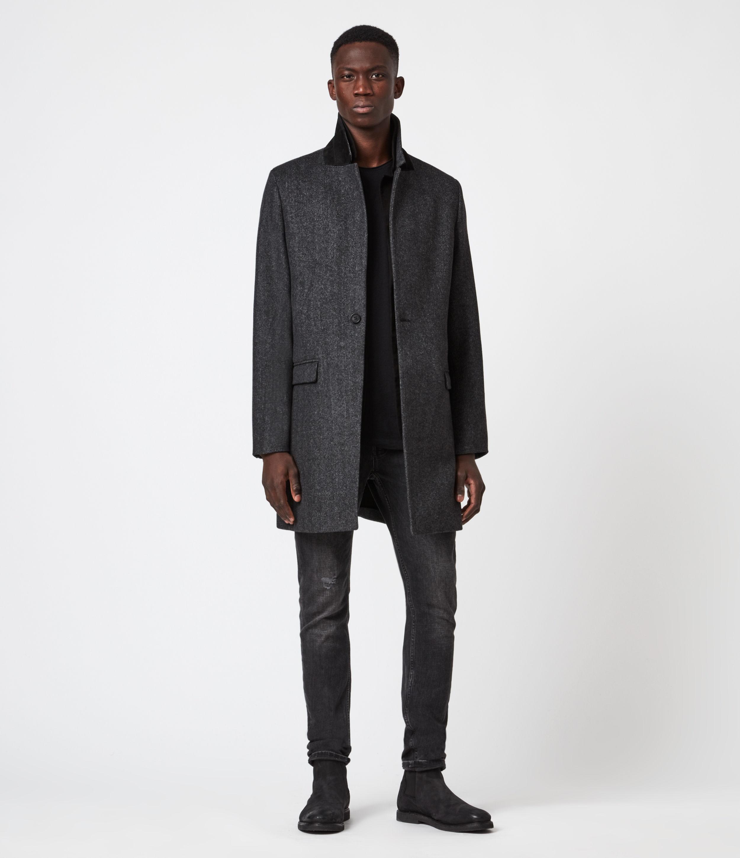 AllSaints Men's Morden Wool-Cashmere Blend Coat, Charcoal, Size: 36
