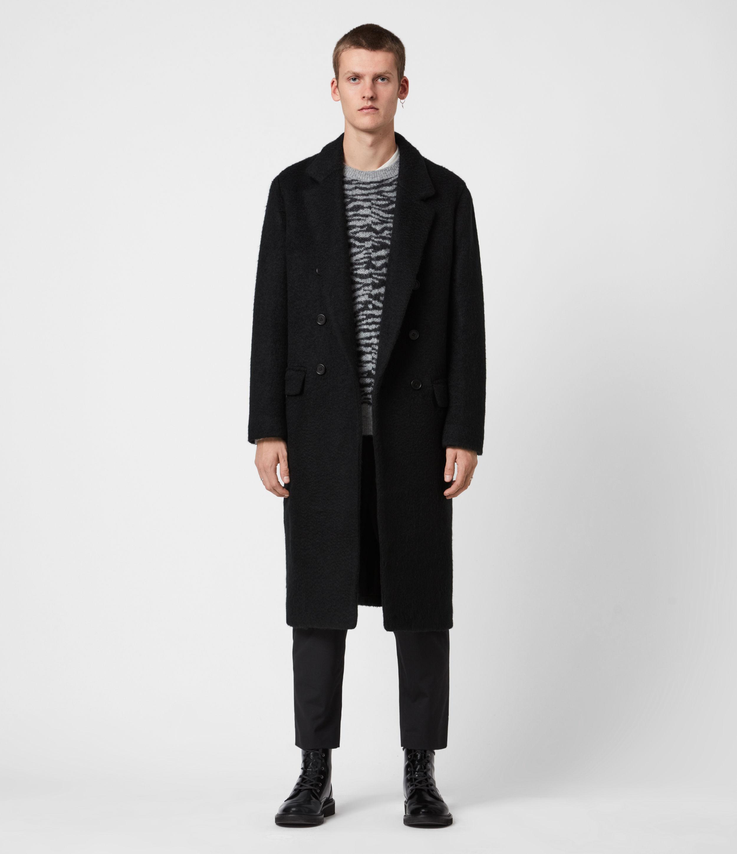 AllSaints Men's Wool Blend Regular Fit Campo Coat, Black, Size: 44