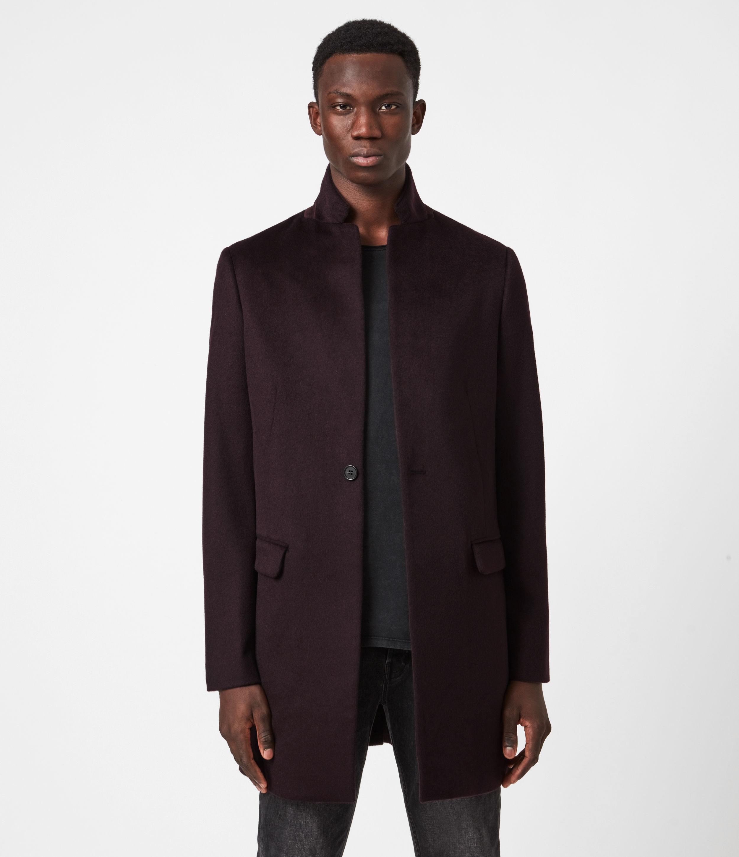 AllSaints Mens Manor Wool Coat, Dark Garnet, Size: 36