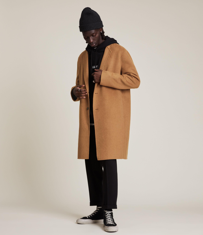 AllSaints Men's Hanson Wool Blend Coat, Tabacco, Size: 40