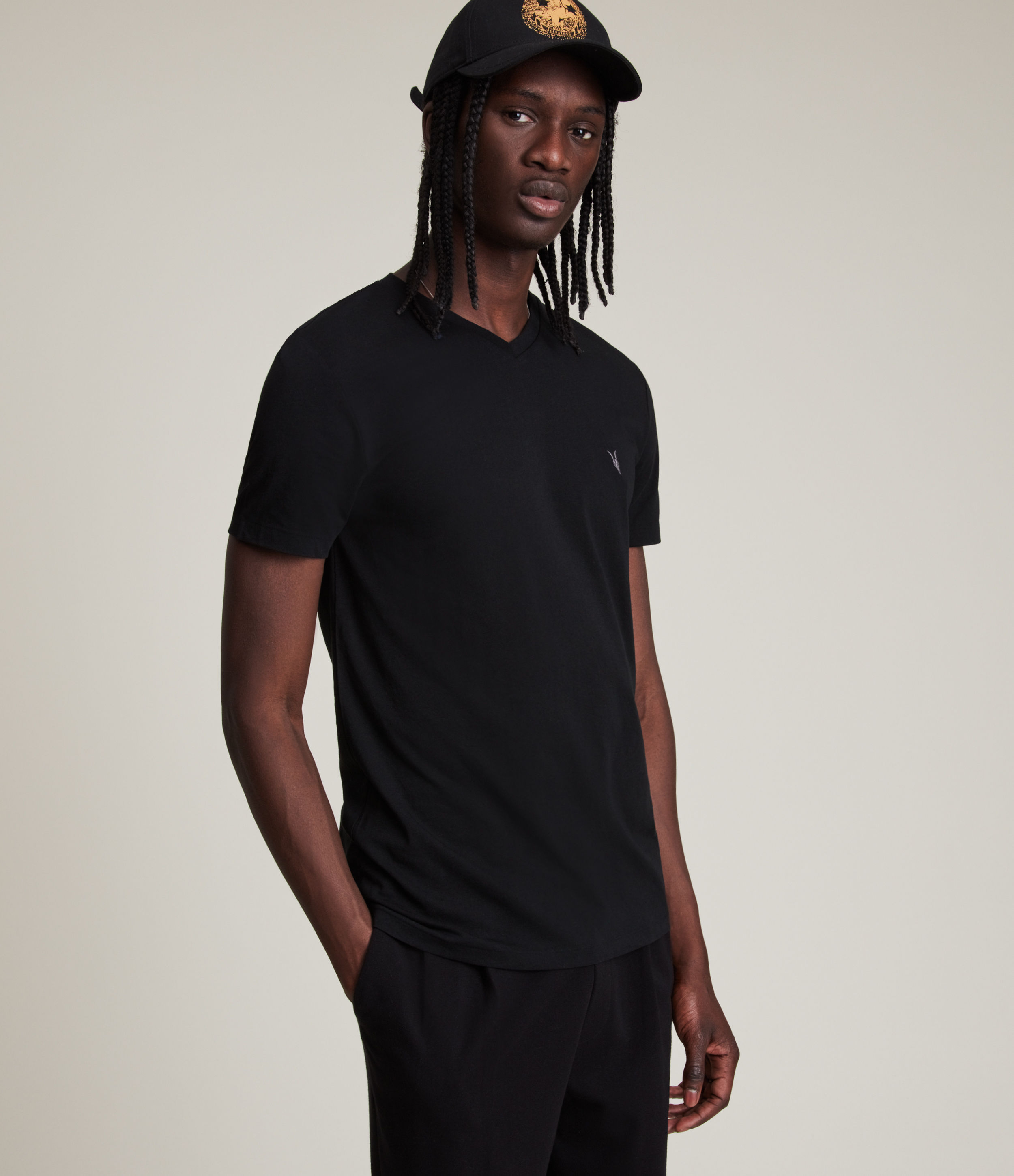 AllSaints Men's Cotton Lightweight Tonic V-Neck T-Shirt, Black, Size: M